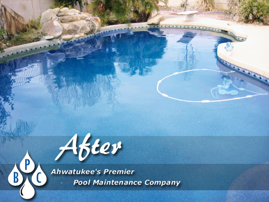 green pool cleaning after photo ahwatukee az